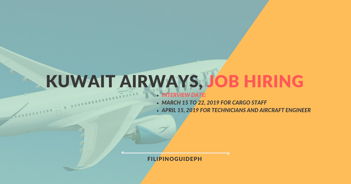 Kuwait Airways is Looking for 200 Filipino Workers with
