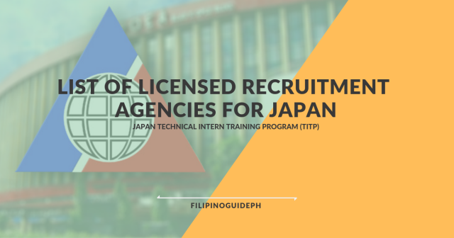 LIST OF LICENSED RECRUITMENT AGENCIES FOR JAPAN