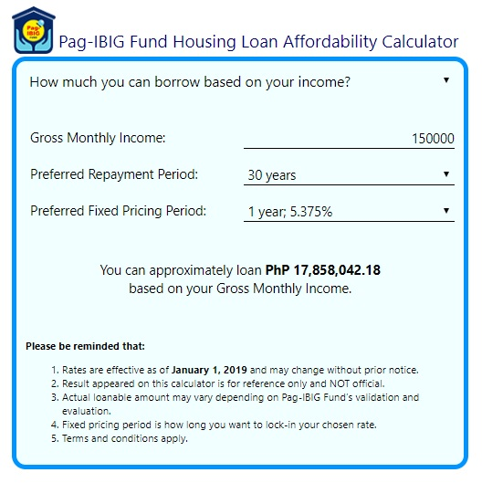 pag ibig housing loan computation base on calculator